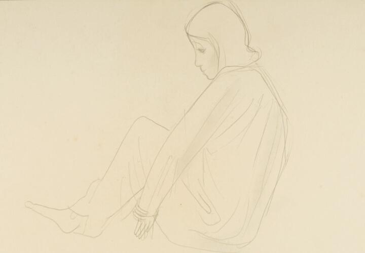Sitzende im Gewand, Beine angezogen, um 1932, Bleistift auf Papier