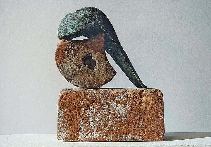 Wolfgang Friedrich, Helmkopf, 1993, Bronze, Terrakotta, Foto: Wolfgang Friedrich