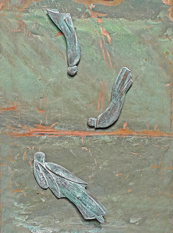 Wolfgang Friedrich, Steigen und Stürzen, 2011; Mutter mit Kind, 2010, Bronze auf Kupfer, Foto: Wolfgang Friedrich