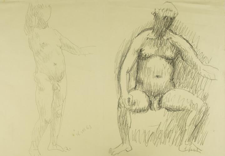 Gerhard Marcks, Sitzender männlicher Akt, Stehender männlicher Akt, rechter Arm erhoben, 1963, Bleistift auf Papier