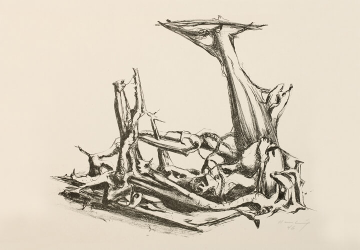 Karl Hartung, Surreale Landschaft, 1946, Lithografie