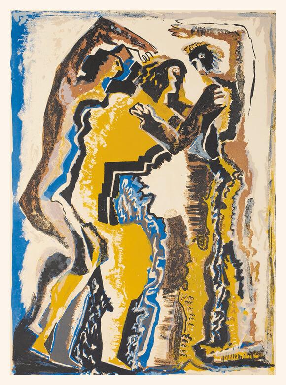 Ossip Zadkine, Gestalten, 1957, Farblithografie, Gerhard-Marcks-Stiftung, Bremen, Schenkung Thomas Duttenhoefer, Darmstadt
