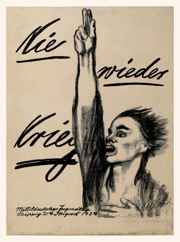 Käthe Kollwitz, Nie wieder Krieg, Plakat zum Mitteldeutschen Jugendtag 1924, Kreide- und Pinsellithographie © Käthe Kollwitz Museum Köln