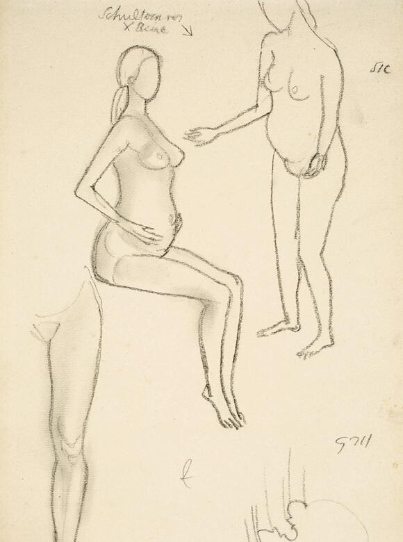 Gerhard Marcks, Schwangere, 1916, Bleistift auf Papier