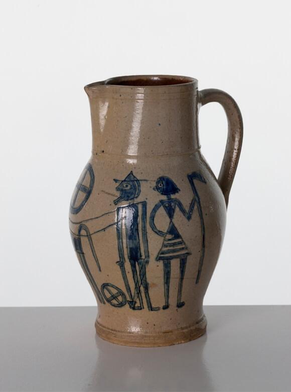 Max Krehan, Gerhard Marcks, Bemalter Tonkrug; Henkelkrug mit Darstellung eines Pflugspanns, um 1920, Keramik