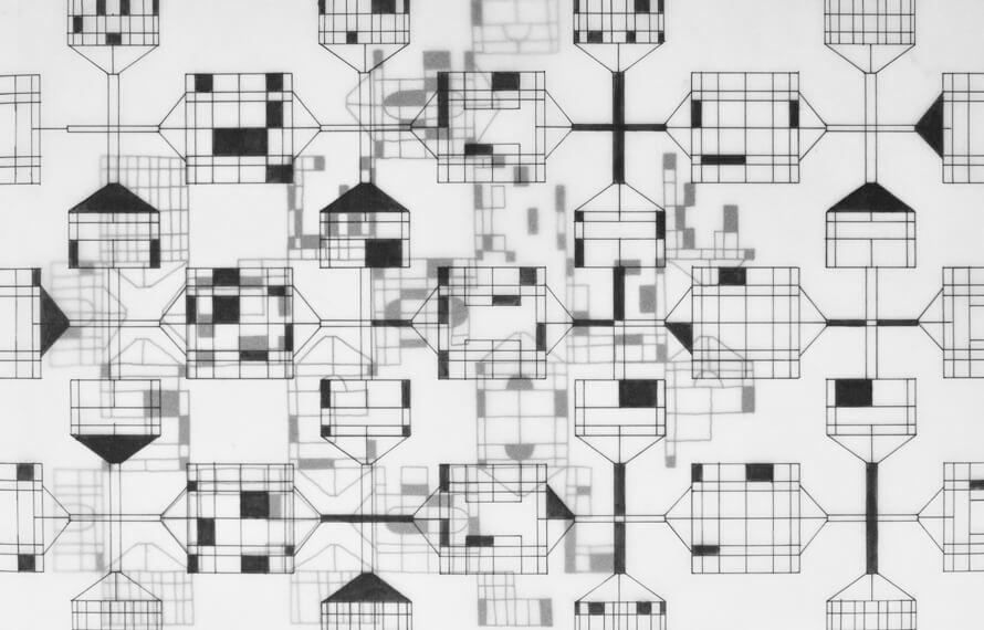 Suse Itzel, Gesa Lange, Tela Pattern, Nr. 1, 2020, Filzstift auf Transparentpapier, (Ausschnitt)