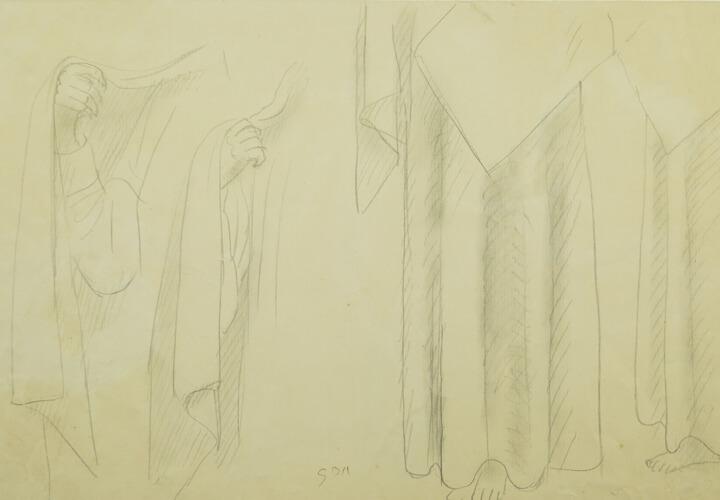 Gerhard Marcks, Gewandstudie Grabengel, um 1935, Bleistift auf Papier