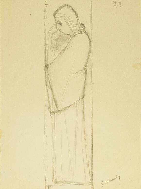 Gerhard Marcks, Trauernde, um 1946, Bleistiftt auf Papier