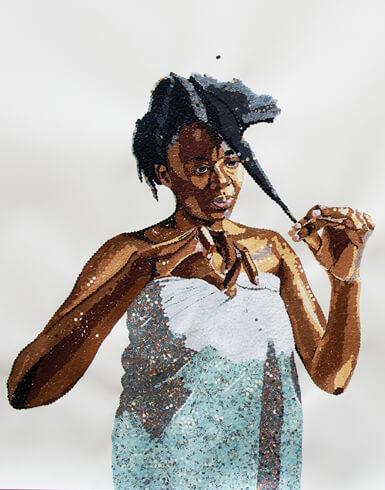 Ngozi Schommers, Selbstporträt, 2018, perforiertes Papier, Konfetti auf handgeschöpftem Aquarellpapier